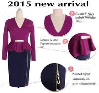 2015 new fashion Patchwork Draped zip Sequin women dress woman midi high waist bodycon sexy club party pencil dresses 7775