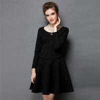 2014 New Women Winter Casual Dress Back Fashion Ruffles Waves Slim A-Line Dress Full Sleeve Plus Size Eleagnt Dress High Quality