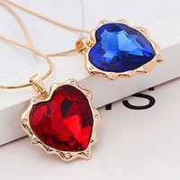 Promotion! Wholesale! Fashion lady women necklaces & pendants elegant red and blue glass heart brief necklaces SN593