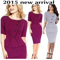 2015 new arrival plus size Button Draped elegant women dress fashion Casual midi high waist bodycon party pencil dresses 7776