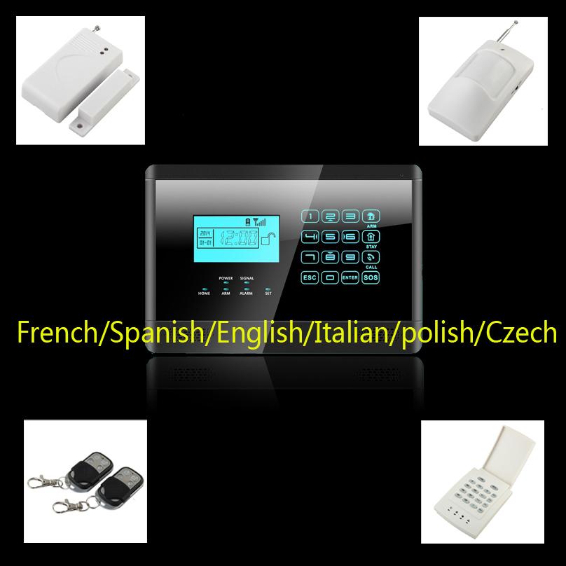 LCD wireless GSM home security alarm system sensors alarm support French, Spanish, English, Italian quad band+password keypad(China (Mainland))