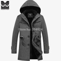 Fashion New Winter men's jackets thick Warm Woolen Coat Long With Hat Windbreaker Coat Slim Size:S-4XL,