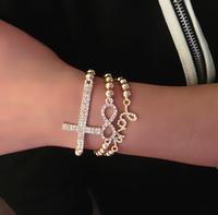 Promotion! Wholesale! Fashion lady women bracelets & bangles jewelry brief rhinestone cross/love elastic alloy bracelets BR216