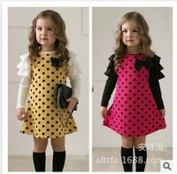 new 2015 spring girl Long sleeve dress Dot princess dress children's clothes baby girl children's princess gauze clothes