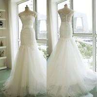 Free shipping 2015 Top Lace Super Sexy Mermaid Real Photos Wedding Dress Bridal Gown Vestido De Novia