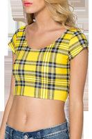 Vest Women Halter  Blouses Women 2015      yellow Plaid    Colete Feminino Gilet Femme Chaleco Femenino