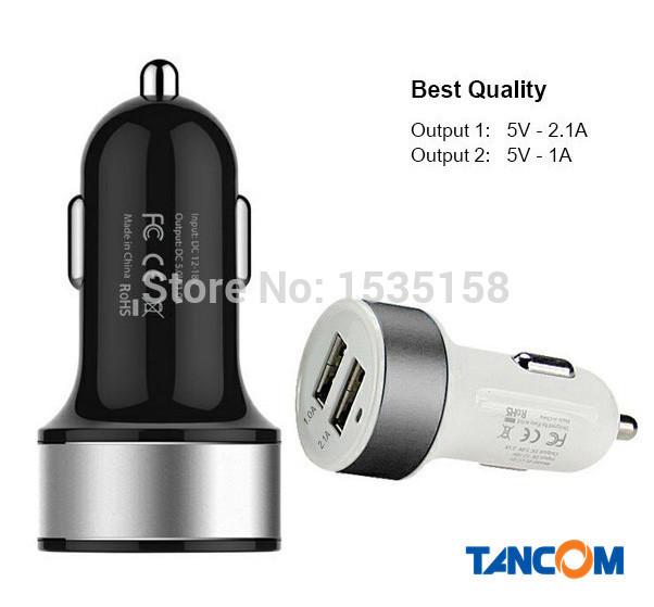 [1PCS] 2.1A + 1A Micro Universal 2 Port Dual USB Car Charger Adapter for iPhone 4 5 6 plug iPad Air Mini Samsung Galaxy S3 S4