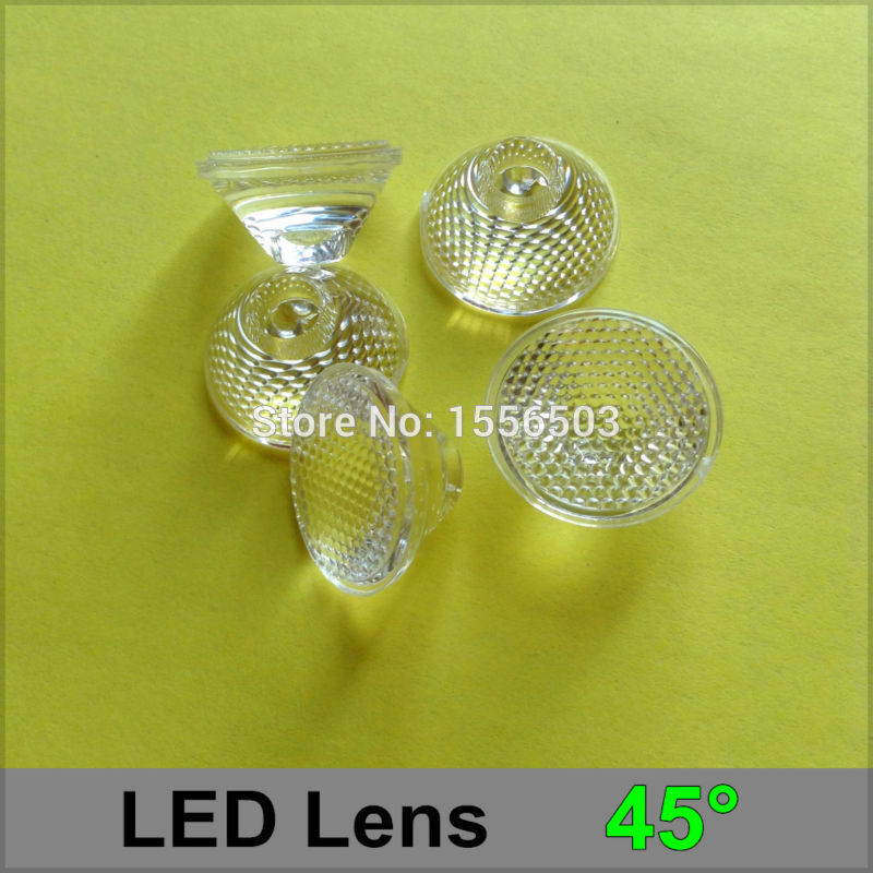 300 Pcs/lot Box 20mm 45 Degree LED 1W 3W Lens Beads Surface PMMA High Quality Lenses For LED Spot Down Light Lamp(China (Mainland))