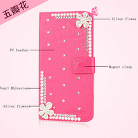 New Luxury 3D flower Bling Diamond Wallet Holster back cover skin PU Leather case  For Explay Rio