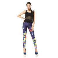 2015 Leggings Push Up Gym Clothes Women Leggings     Tetris    DK050 Fitness Clothing For Women Ropa Punk Mujer Print