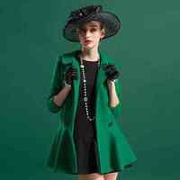 Free Shipping babycollar long coat slim fit flounce coat female 7263 201512332543