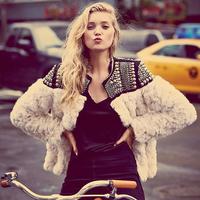 Free Shipping Women's Fur Coat Short Design Patchwork Fashion Fur Outerwear Beige Color Fur Coat Women Jacket