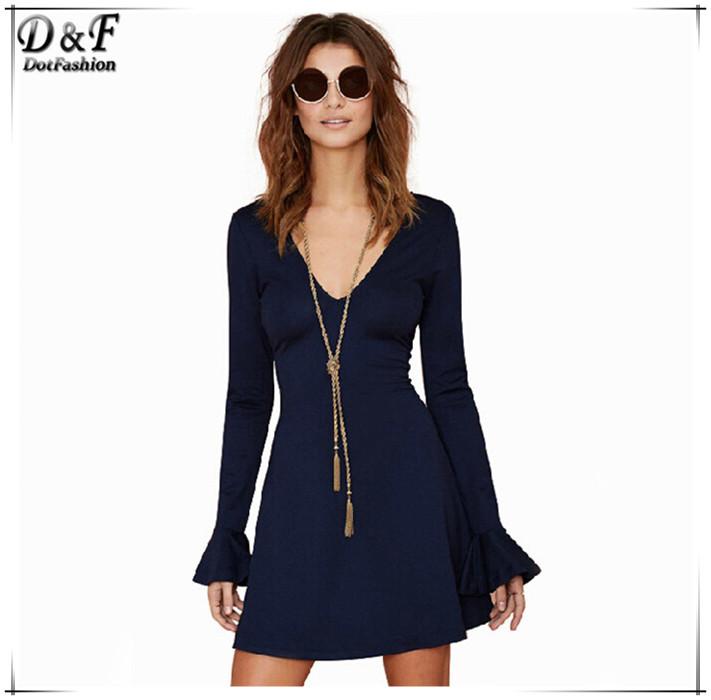 High Fashion Designer Branded Clothes 2015 New Summer Women European Style Street Navy V Neck Long Sleeve Flouncing Dress(China (Mainland))