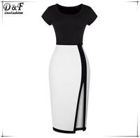 2015 Summer Women Color Block Elegance Split Dresses Fashion Brand Slimming Fitness Black White Short Sleeve Bodycon Dress