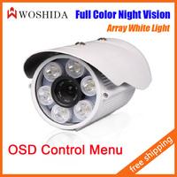 6 Array White LED Day Night Outdoor Bullet Camera CCTV Camera Security Camera Night Vision With OSD Menu Woshida