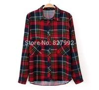 Women Causal Fashion Spring 2015 New Shirt Plaid Design Pockets Long Sleeves Blouse Top