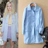 Water blue long age of winter new fashion slim wool wool coat jacket 217