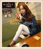 New 2015 Hot Europe Women Jeans Elasticity Pencil Pants Skinny Full Length Zipper Cotton Natural Color Fashion Slim Bottom Jeans
