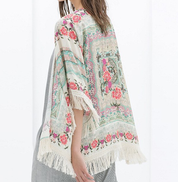 New Fashion Ladies floral Pattern tassel Cape vintage loose Outwear casual Tops elegant Cape Lady kimono blouses#P0805(China (Mainland))