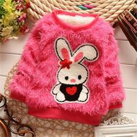 2015 new girls winter plush coat, girls cute super soft plush long-sleeved sweater. Children's cartoon rabbit fashion plush coat