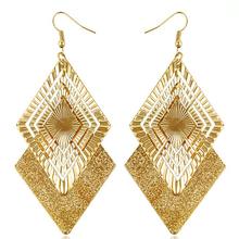 2015 women new fashion brand crystal earrings TOP 18K gold jewelry gift box big frosted rhombic earrings E1293