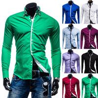men's shirts social  men Casual shirt  double Turn-down Collar Long-Sleeve solid Cotton Slim camisa social masculina Plus Size