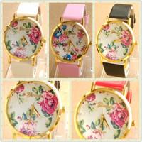 100pcs/lot,Top sale! Fashion Leather Rose Flower wristwatches Geneva Watches Women Dress Watches