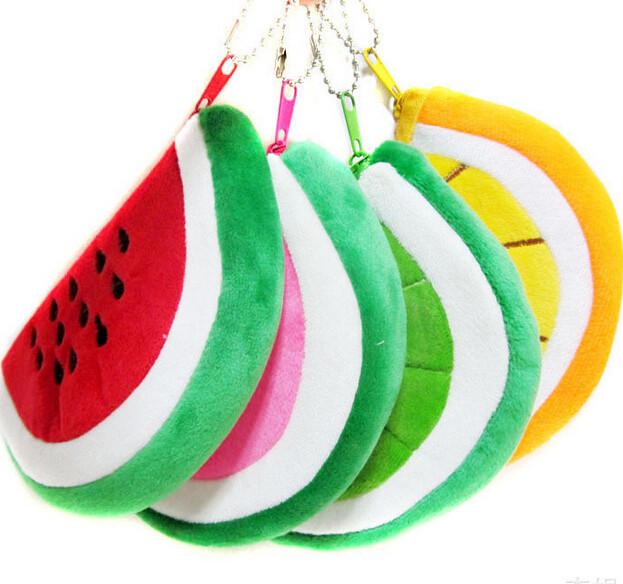 100pcs/lot wholesale ! free shipping Japanese style funny cute mini Cartoon pattern red watermelon coin purse fruit plush purse(China (Mainland))