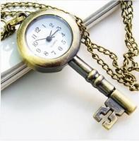 Fashion Bronze Lovely Vintage Key Design Quartz Women necklace Gift men Pocket Watch