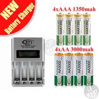 FS! BTY N-903 AA AAA Battery Charger + 4x AA 3000mAh Ni-MH Battery+4x AAA 1350mAh 1.2V Ni-MH Rechargeable Battery