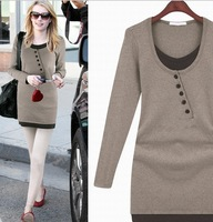 2014 autumn dresses the European show thin formfitting dress knit wholesale