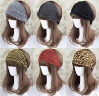 mix color 5pcs/lot bandanas bling silver wide ribbon leopard print elastic headband hair accessory 8colors