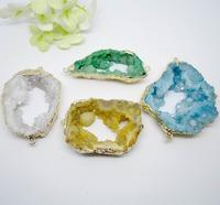 5pcs Wholesale Jewelry Fashion Nature Druzy Crystal Geode Quartz Drusy gem stone Connector Mix color(buyer can choose color