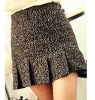 S M 2015 Women Fashion Woolen Ruffles Bud Short Skirt Lady Preppy Style Empire Mini Skirt 3270