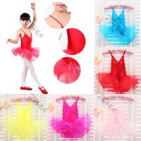 Kids Girl Ballet Dancewear Tranning Dance Skirt Tutu Strap Dress Leotard 3-12Y Free Shipping