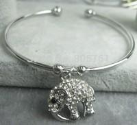 New Arrival! Ring Opening Bracelet with Elephant Design Rhinstone Charm Bangles