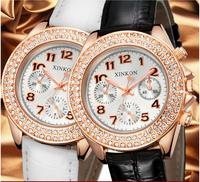 2014 Women Dress Watches Alloy Analog leather strap women Rhinestone watch vintage brand Ladies Quartz Watch