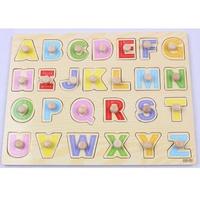 26pcs Wooden Alphabet Peg Letter Hand Grasp Puzzle Educational Toys for Kids