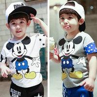 2015 new boy's t shirt mickey design gray and white t-shirt cotton boys clothes vetement enfant 5 pcs/lot free shipping