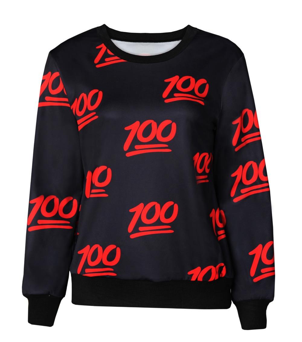 Spring 2015 Hot Harajuku Women Men Pullover 3D Digital Emoji Print Sportswear Tops 100 Points Printed Sweatshirt Free Shipping(China (Mainland))