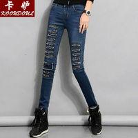Brand new arrival 2015 spring autum  mid-waist fashion hole women girls denim jeans woman clothes bottoms,slim skinny jeans SALE