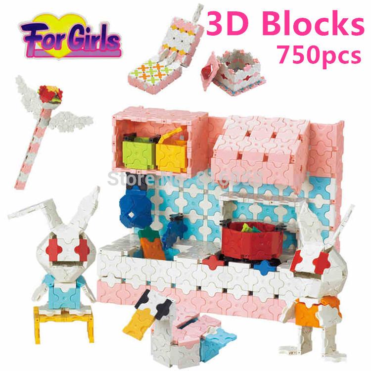Smart LaQ Style Magic 3D Blocks Set- Girls Pink Kitchen Building Blocks DIY Learning Educational Toys Girls Toys brinquedos(China (Mainland))