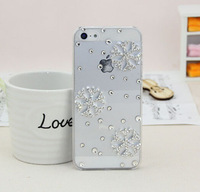"Transparent Cell phone cases 6  4.7"" 5.5"" Mobile accessories Rhinestone snowflake Cell phone shell Gift Free shipping P008"