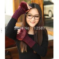 2015 fashion Women Faux Rabbit Fur Hand Wrist Winter Warmer Fingerless Long Mitten Gloves