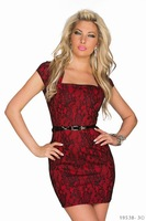 Women Sexy Dress New Style 2015 Floral Red Lace Slim Dress with Belt Fast Delivery Stretchy Women Work Peplum Dress