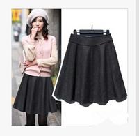 2015 Spring Women Woolen Skirt Medium High Waist Skirt pleated Skirt OL Outfit Plus Size Casual Skirts