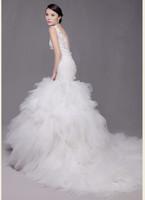 Free shipping 2015 Top Super Sexy Mermaid Puff Wedding Dress Bridal Gown Vestido De Novia S002