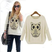 ladies owl loose long-sleeved wool sweater hedging wool backing shirt hippocampus sweatershirt 4371