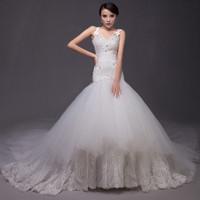 Free shipping 2015 Top Super Sexy Mermaid Big Train Wedding Dress Bridal Gown Vestido De Novia S003