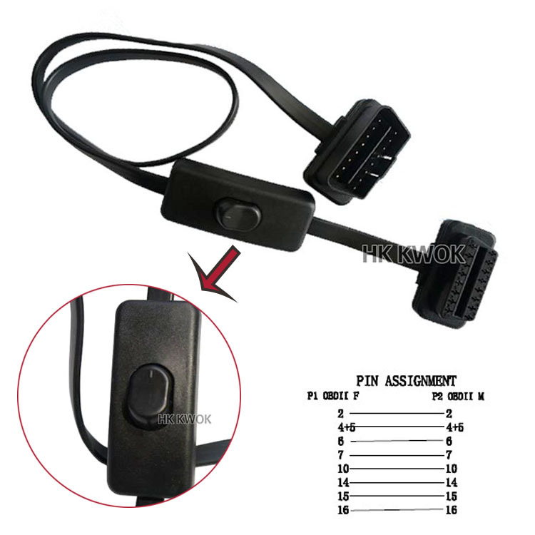 16 pin to 16Pin Flat+Thin As Noodle OBD2 OBD OBDII Auto Car Extension Cable With Switch Type Adapter Connector ELM327 Cable(China (Mainland))